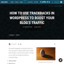 How To Use Trackbacks In WordPress To Boost Your Blog's Traffic