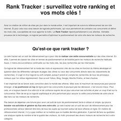 Rank Tracker : surveillez votre ranking et vos mots clés !