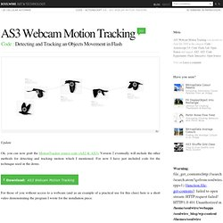 AS3 Webcam Motion Tracking › Detecting and Tracking an Objects Movement in Flash