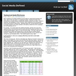 Tracking Social Media Effectiveness | Social Media Defined
