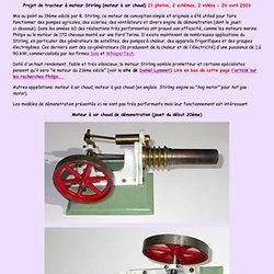 Tracteur en Meccano à moteur Stirling - Fonctionnement et photos de moteurs Stirling