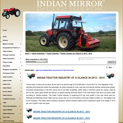 Indian Tractor Industry at A Glance in 2013-2014, Tractor Industry in India, Tractor Industry, Tractor Industries