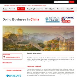 Free trade zones - Doing Business in China
