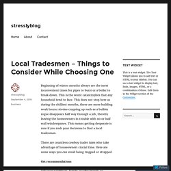 Local Tradesmen - Things to Consider While Choosing One