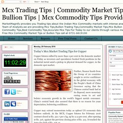 Today's Mcx Market Trading Tips for Copper
