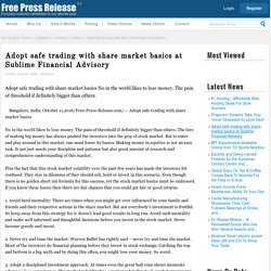 Adopt safe trading with share market basics at Sublime Financial Advisory