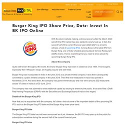 Invest In Burger King IPO Online