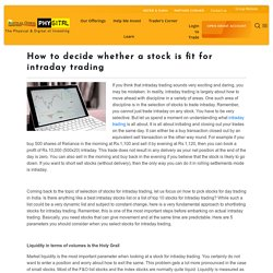 Rules for Picking Stocks When Intraday Trading - Motilal Oswal