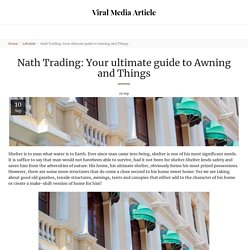 Nath Trading: Your ultimate guide to Awning and Things - Viral Media Article