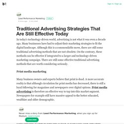 Traditional Advertising Strategies That Are Still Effective Today