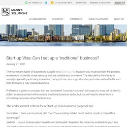 Start-up Visa: Can I set up a 'traditional' business? - Manns Solutions -