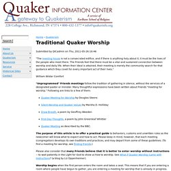 Traditional Quaker Worship