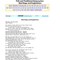 Folk & Traditional Song Lyrics - Mad Dogs and Englishmen