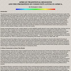 African Traditional Religions and the Promotion of Community