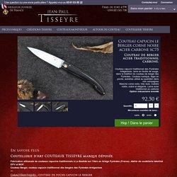 couteau traditionnel capucin de berger des Pyrénées Ariégeoises manche en corne noire lame acier au carbone xc75