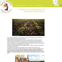 Semences traditionnelles et autonomie alimentaire