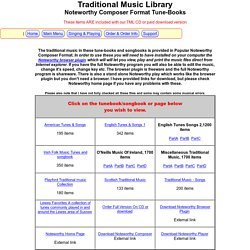 tradtional music and folk music tune-books and songbooks main menu (Noteworthy composer version)