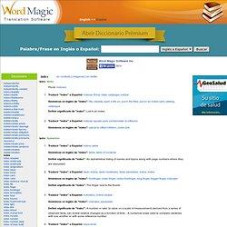 index - traducción de español - Diccionario Inglés-Español de Word Magic