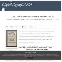 Traducción menú restaurante (Español/Ingles)