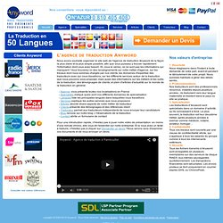 Le site de traduction de l'agence de traduction Anyword