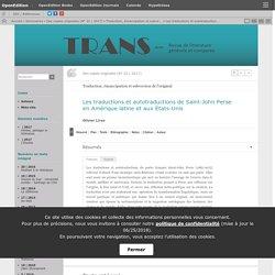 Les traductions et autotraductions de Saint-John Perse en Amérique latine et aux États-Unis