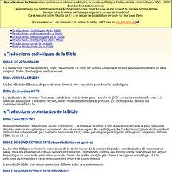 La Bible, traductions françaises (Jérusalem 2000, Segond 21, NBS