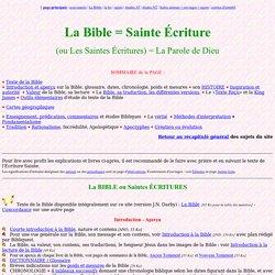 Sujets : La Bible ou Sainte Ecriture ; Les problèmes de versions, de traductions, d'apocryphes, d'inspiration divine