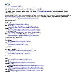 Liste des traductions Fran?aises disponibles des sp?cifications du W3C