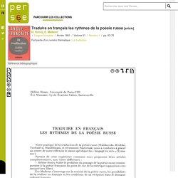 Traduire en français les rythmes de la poésie russe