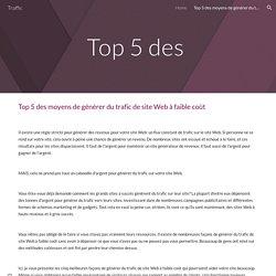 Traffic - Top 5 des moyens de générer du trafic de site Web à faible coût