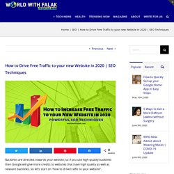 How to drive free traffic to your new website in 2020