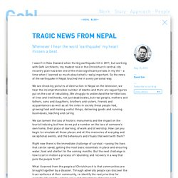 Tragic news from Nepal - Gehl Architects