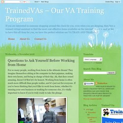 TrainedVAs – Our VA Training Program: Questions to Ask Yourself Before Working from Home