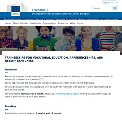 Traineeships for vocational education, apprenticeships, and recent graduates