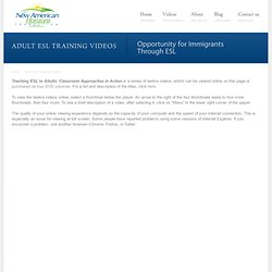 Adult ESL Training Videos » New American Horizons