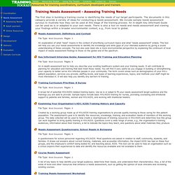 Training Toolkit - Needs Assessment - Assessing Training Needs