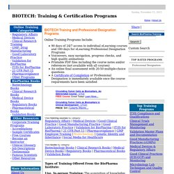 BIOTECH: Training & Certification Programs