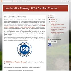 IRCA Certified Courses : IRCA Approved Lead Auditor Courses