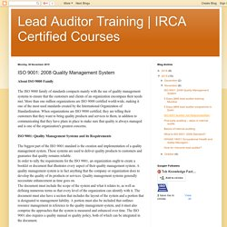 IRCA Certified Courses : ISO 9001: 2008 Quality Management System