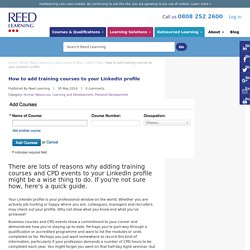 How to add training courses to your LinkedIn profile