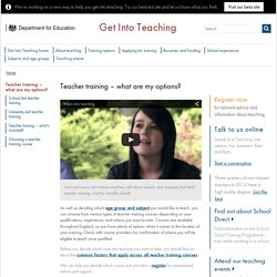 Teacher training options - Get into teaching - Teaching Agency