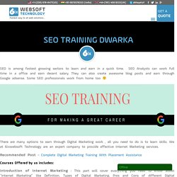 Top SEO training Center Dwarka