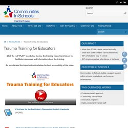 Trauma Training for Educators – Communities In Schools Of Central Texas