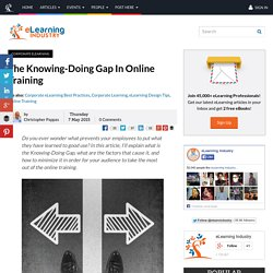 The Knowing-Doing Gap In Online Training