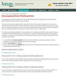Intute: Encouraging Critical Thinking Online
