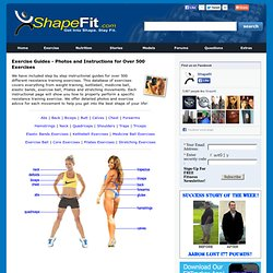 Weight Training Exercise Guides - Photos Database of Resistance Exercises