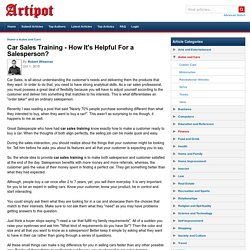 Car Sales Training - How It's Helpful For a Salesperson?