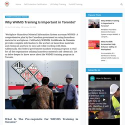 Why WHMIS Training Is Important in Toronto?