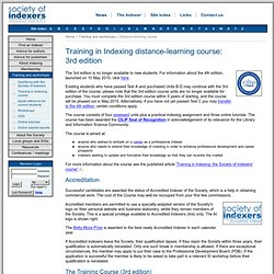 Training in Indexing distance-learning course: <br />3rd edition