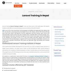 Laravel PHP Framework Training in Nepal - DIT Solution